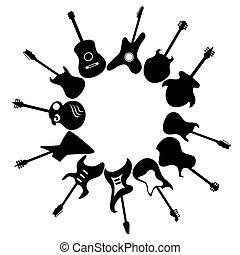 cópia, violões, ao redor, fundo, espaço