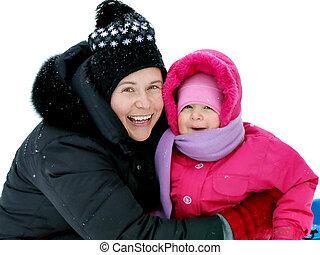 córka, śnieg, mamusia, poza