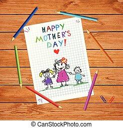 córka, card., matki, syn, powitanie, dzień, szczęśliwy