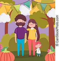 córka, dziękczynienie, tatuś, szczęśliwy, park, mamusia, rodzina