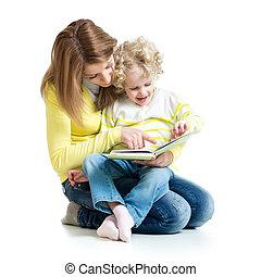 córka, jej, młody, książka, mamusia, czytanie