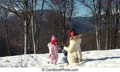 córka, jej, młody, rękawiczki, macierz, stroje, szczęśliwy