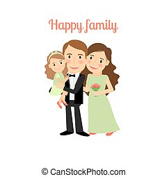 córka, młoda rodzina, szczęśliwy