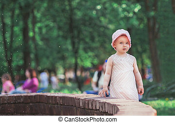 córka, macierz, reputacja, miasto, mały, młody, fontanna