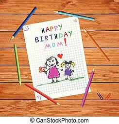 córka, ojciec, urodziny, mom., rysunek, szczęśliwy