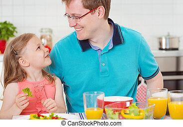 córka, ojciec, withpretty, zabawa, śniadanie, posiadanie, szczęśliwy