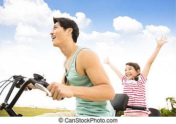 córka, outdoors, ojciec, jeżdżenie rower, szczęśliwy