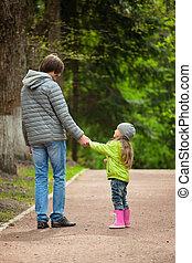 córka, pieszy, ojciec