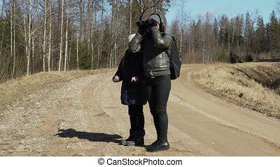 córka, plecak, lorneta, las, macierz, droga
