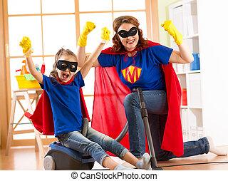 córka, pokój, rodzina, gospodyni, cleaning., prace domowe, gotowy, superhero, silny, concept., koźlę