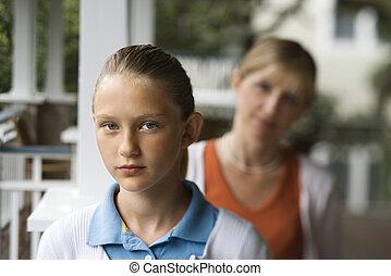 córka, z, mom.