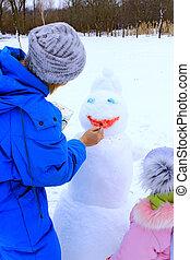 córka, zima, rodzina, malować, holidays., snowman., spędza urlop, macierz, cieszący się