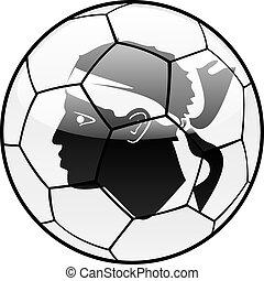 córsega, bandeira, ligado, bola futebol
