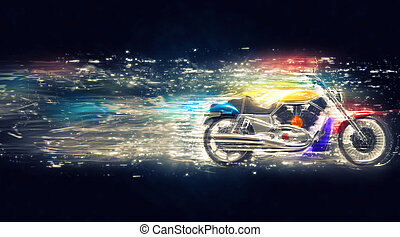 cósmico, bicicleta, colorido