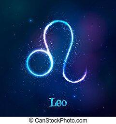cósmico, brillar, neón, zodíaco, azul, leo, símbolo