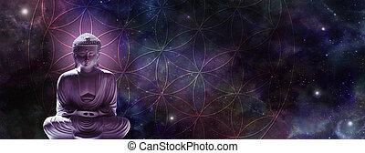 cósmico, buddha, meditar, en, el, flor, de, vida