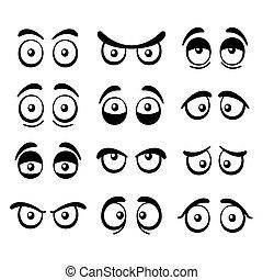cômico, caricatura, olhos, set., vetorial