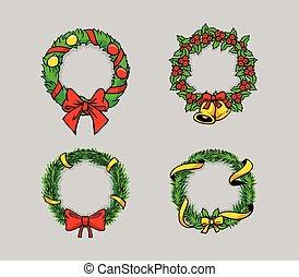 cômico, desenho, grinalda natal