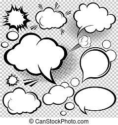 cômico, fala, bolhas