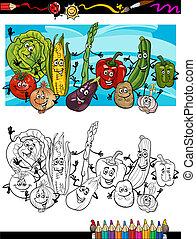 cômico, legumes, tinja livro, caricatura
