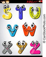 cômico, letras, alfabeto, caricatura, ilustração
