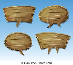 cômico, madeira, fala, bolhas, jogo