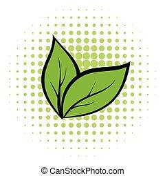 cômico, planta, seedling, ícone
