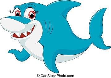 cômico, tubarão, personagem