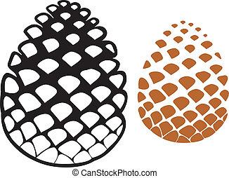 cône, arbre, cône, pin, pinecone