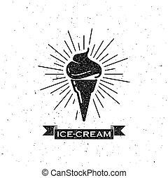 cône crème glace, et, vendange, ruban