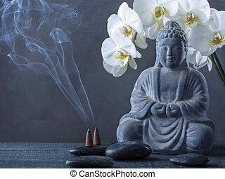 cône, statue, brûlé, bouddha