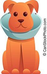 cône, style, chien, dessin animé, icône, protection