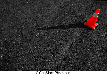 cône trafic, asphalte
