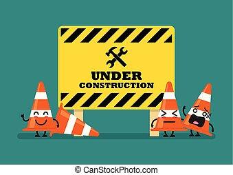 cônes, caractère, signe, construction, trafic, sous