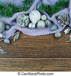 cônes, foyer, espace, sommet violet, fou, composition, plat, sombre, balles, cèdre, poser, fond, copie, argent, plaid, branches, bois, feuilles, noël, sélectif, brillant, vue