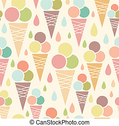 cônes, modèle, seamless, glace, fond, crème