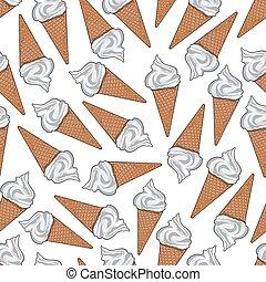 cônes, modèle, seamless, glace, sucre, gaufre, crème