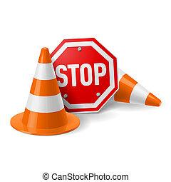 cônes, panneau de signalisation, rouges, arrêt