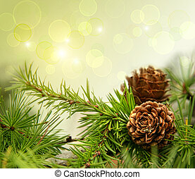 cônes pin, sur, branches, à, vacances, fond