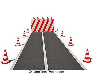 cônes, route, non, manière, trafic, cg, 3d