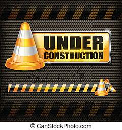 cônes, &, signe, construction, trafic, sous