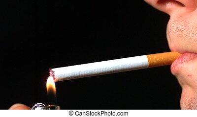 côté, éclairage, cigarette, profil, homme