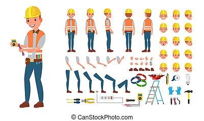 côté, électricien, création, equipment., arrière affichage, électronique, outils, set., caractère, isolé, gestures., poses, accessoires, vector., plat, entiers, illustration, dessin animé, figure, émotion, longueur, animé, devant