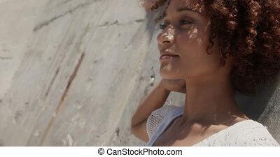 côté, africaine, soleil, vue, délassant, américain, 4k, femme, jeune, plage