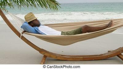 côté, africaine, vue, hamac, américain, dormir, homme, plage, 4k