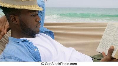 côté, africaine, vue, livre lecture, américain, homme, plage, 4k