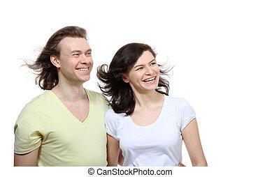 côté, amour, couple, jeune regarder, petite amie, portrait, étreintes, il