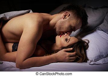 côté, couple, aimer, lumière, nuit, vue