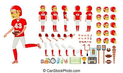 côté, création, dos, joueur, vue, set., caractère, gestures., accessoires, vector., plat, entiers, football, illustration, émotions, poses, dessin animé, homme, animé, américain, longueur, mâle, devant