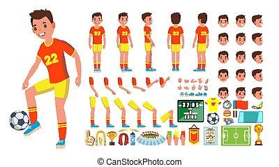 côté, création, dos, joueur, vue, set., caractère, isolé, gestures., poses, accessoires, vector., football, plat, entiers, illustration, émotions, dessin animé, homme, mâle, figure, longueur, animé, devant